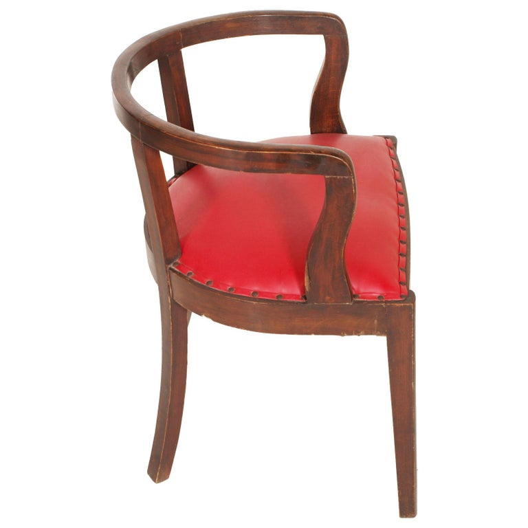 Early 20th Century French 1920s Art Deco Armchair in Brown Walnut, Red Skin Color Jules Leleu Style For Sale