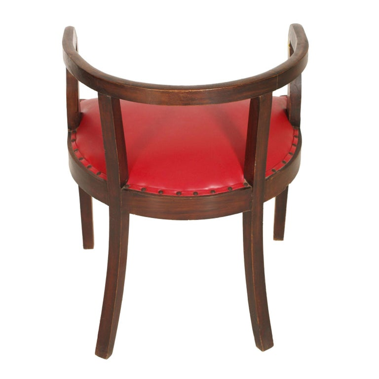 Leather French 1920s Art Deco Armchair in Brown Walnut, Red Skin Color Jules Leleu Style For Sale