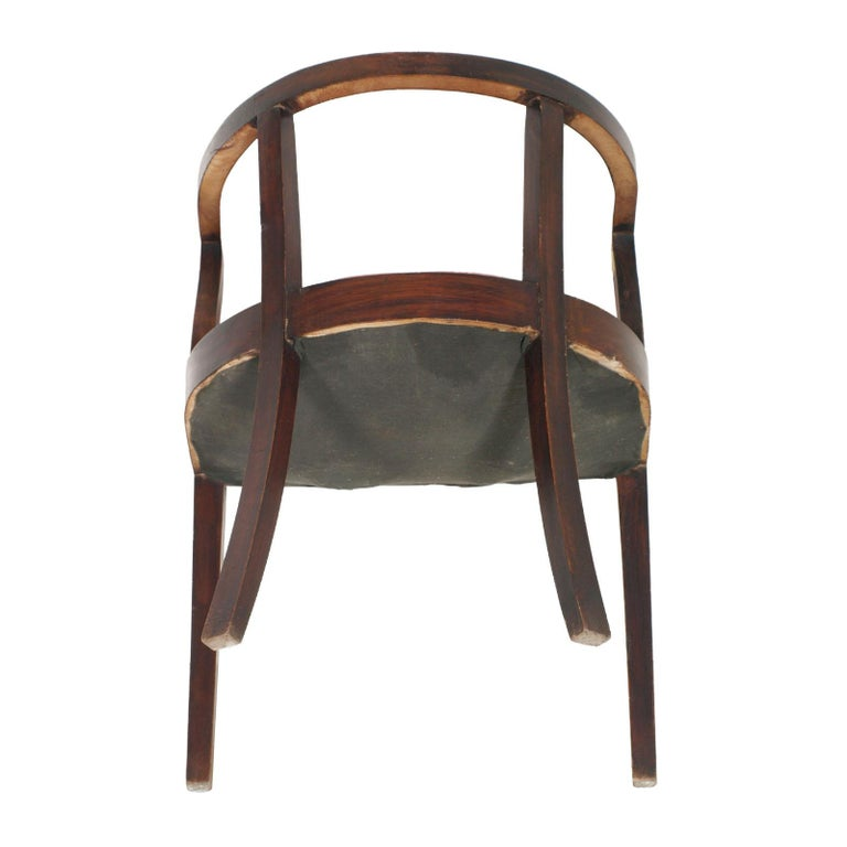 French 1920s Art Deco Armchair in Brown Walnut, Red Skin Color Jules Leleu Style For Sale 1
