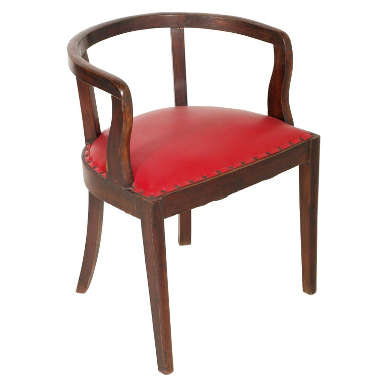 French 1920s Art Deco Armchair in Brown Walnut, Red Skin ...