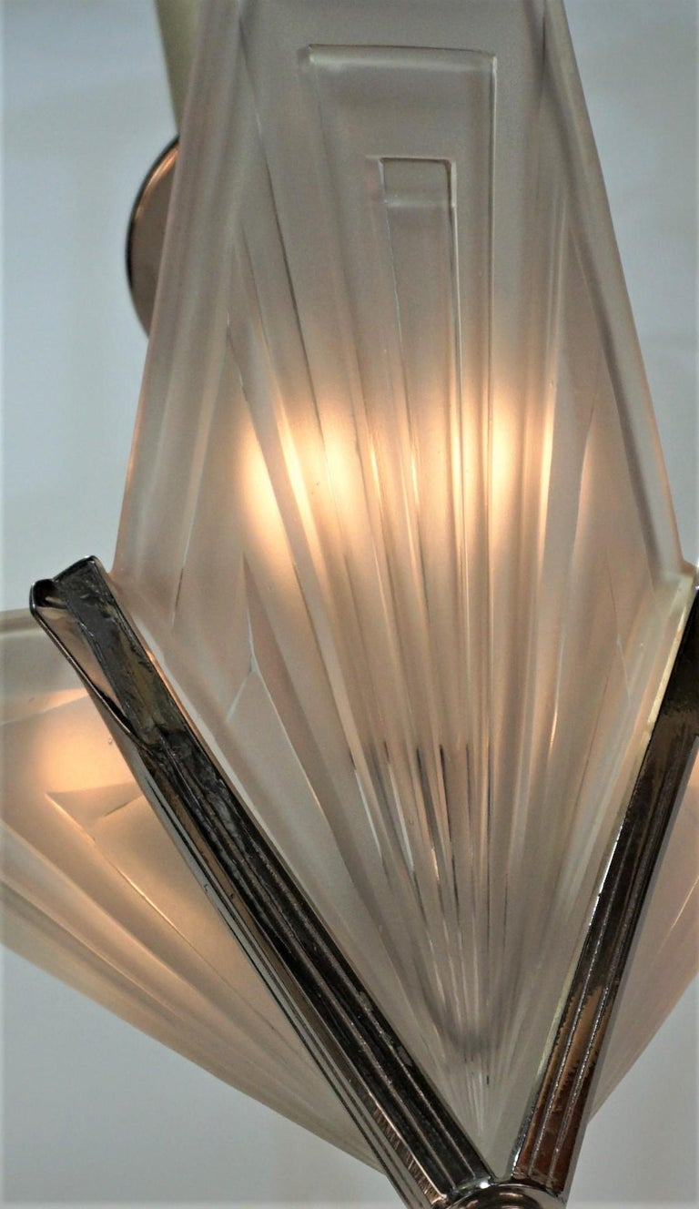 Glass French 1920's Art Deco Chandelier by Degue For Sale