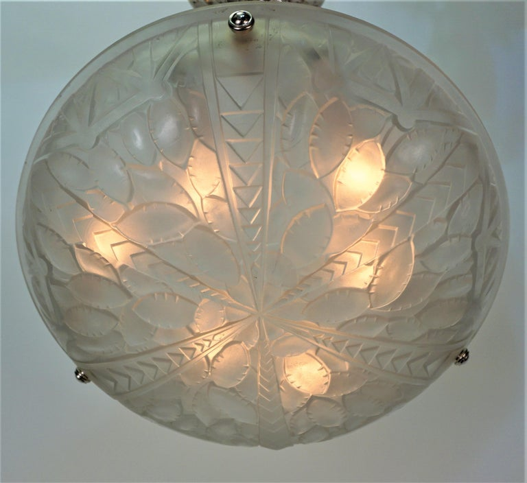 Glass French 1920's Art Deco Chandelier by G. Viarme For Sale