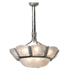 French 1920s Art Deco Chandelier by Jean Noverdy