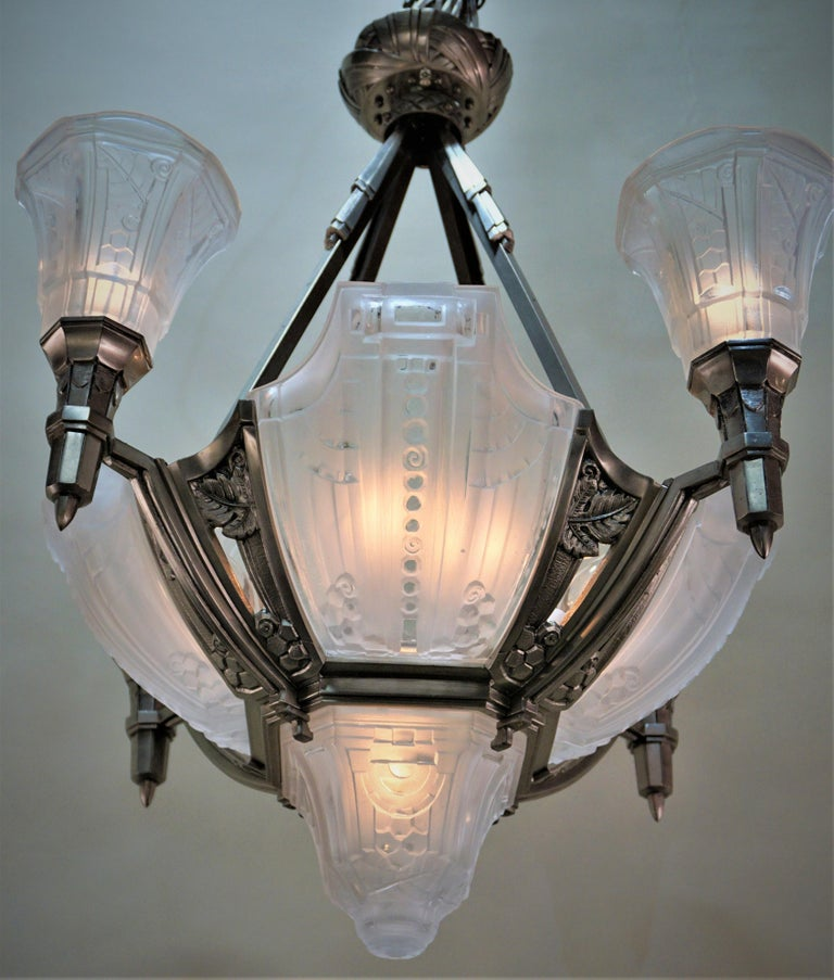Very rare French Art Deco frosted glass chandelier with nickel on bronze frame.