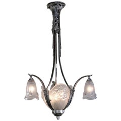 French 1920s Art Deco Chandelier by P. Gilles