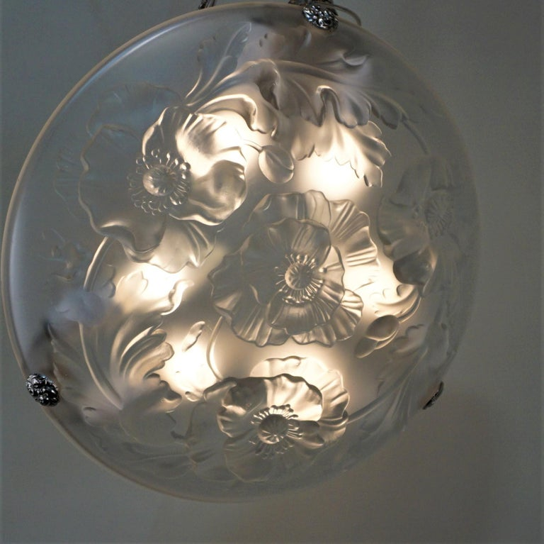 Glass French 1920s Art Deco Chandelier