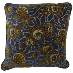 French 1920s Art Deco Tan and Blue Floral Velvet Cushion