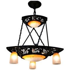 French 1920s Art Glass Chandelier by Charles Schneider
