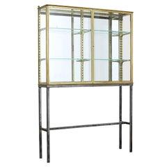 French 1920s Brass Glazed Shop Display Cabinet by Siegel