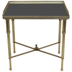 French 1920s Bronze and Black Glass Side Table