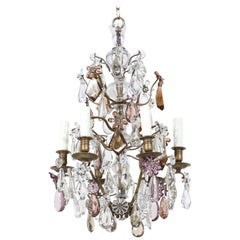 French 1920s Bronze and Crystal Chandelier