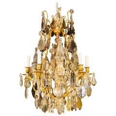 French 1920s Bronze and Crystal Chandelier with Spear Points