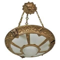 French 1920's Bronze and Glass Art Deco Chandelier