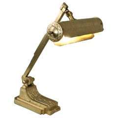 French 1920s Bronze Art Deco Desk/Piano Lamp with Music Note Sheet Design