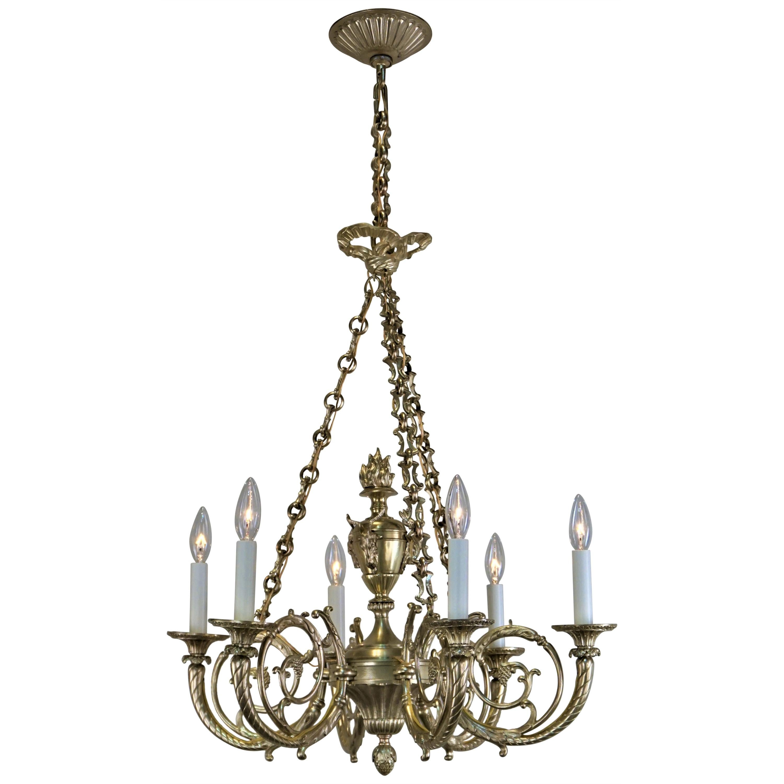 French 1920s Bronze Chandelier