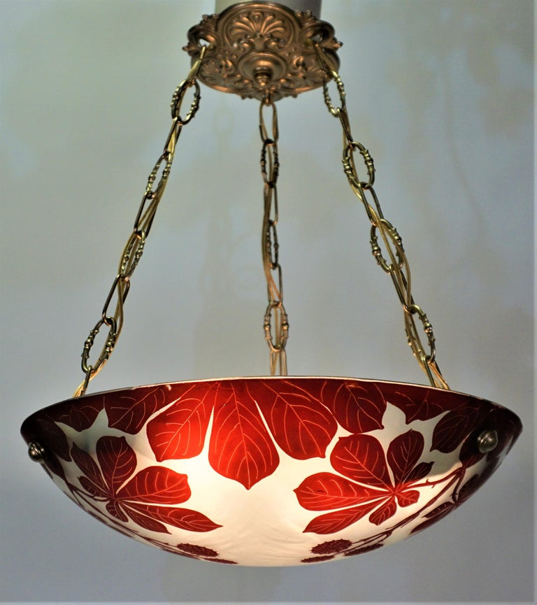 French 1920s acid cut glass chandelier with bronze hardware. Total of six lights with 60 watts max each.