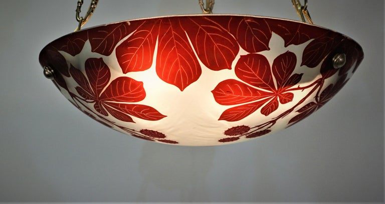 French 1920s Cameo Glass Chandelier In Good Condition In Fairfax, VA