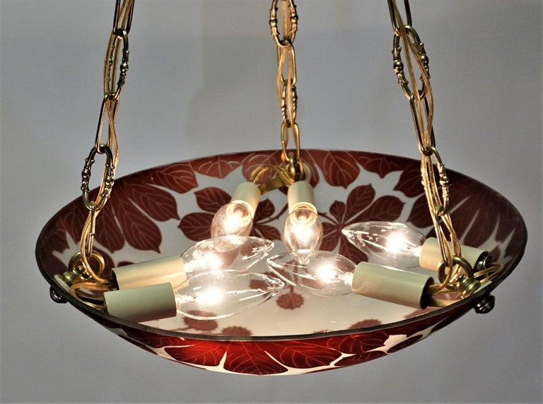 Early 20th Century French 1920s Cameo Glass Chandelier
