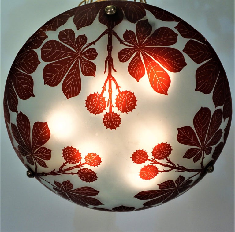 Bronze French 1920s Cameo Glass Chandelier