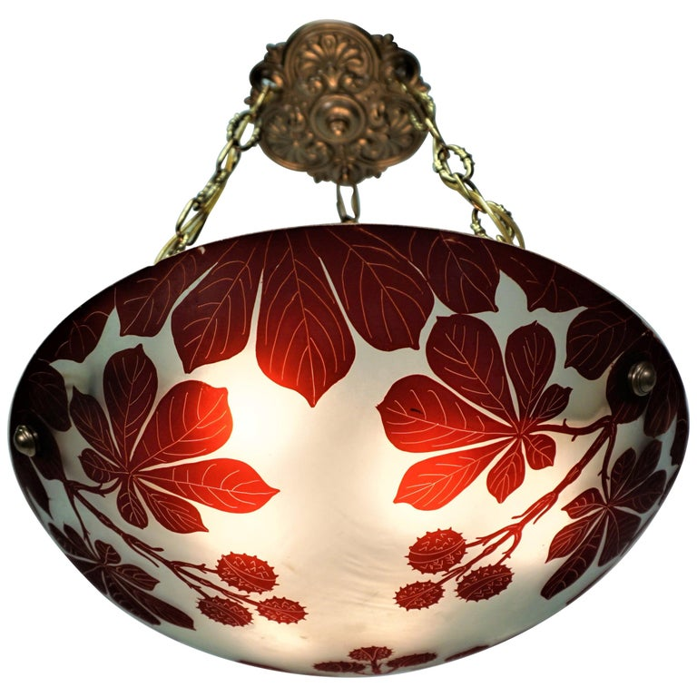 French 1920s Cameo Glass Chandelier