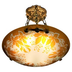 French 1920's Cameo Glass Chandelier