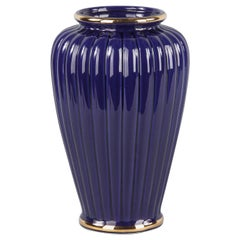 French 1920s Cobalt Blue Fluted Ceramic Vase