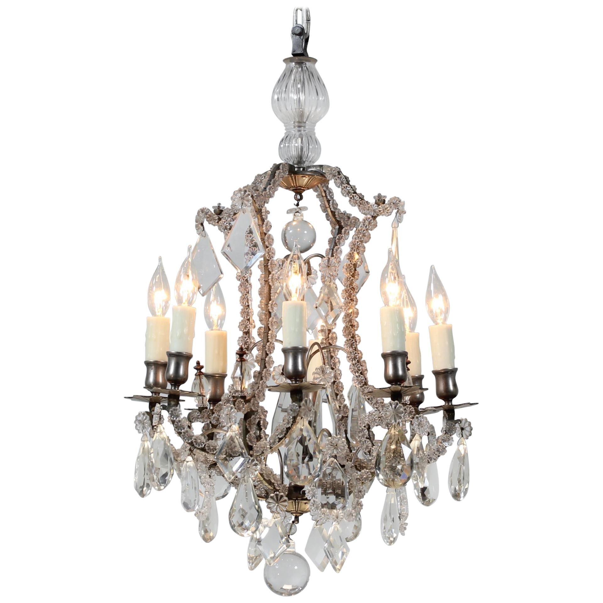 French 1920s Crystal Chandelier