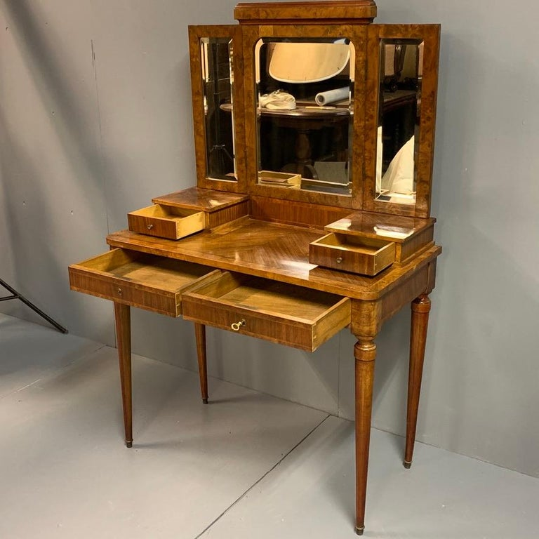 Neoclassical French 1920s Dressing Table with Burr Walnut Banding and Bevelled Mirrors