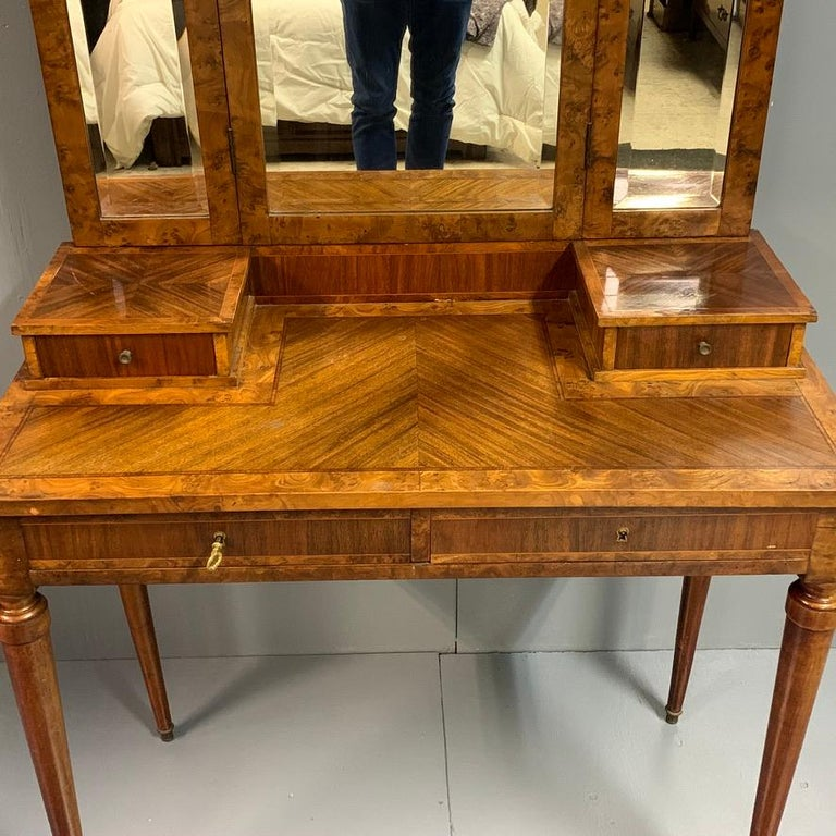 Mahogany French 1920s Dressing Table with Burr Walnut Banding and Bevelled Mirrors