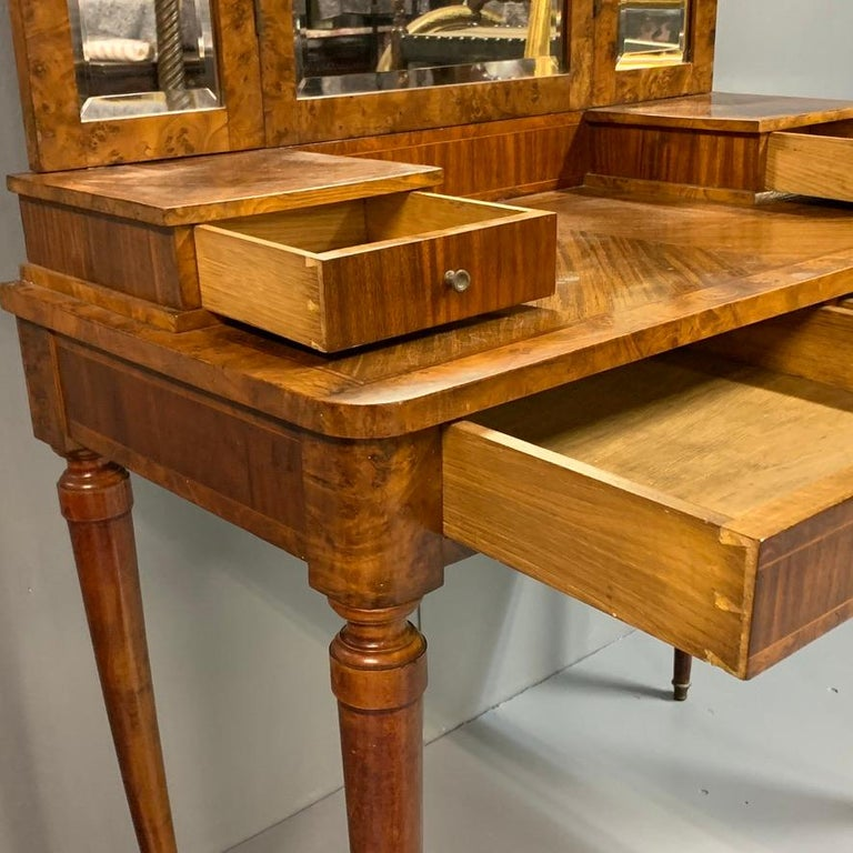 French 1920s Dressing Table with Burr Walnut Banding and Bevelled Mirrors 2