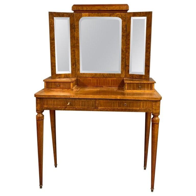 French 1920s Dressing Table with Burr Walnut Banding and Bevelled Mirrors