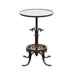 French 1920s Iron and Bronze Drink Table with Dragon Motifs and New Mirrored Top