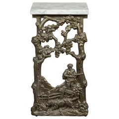 French 1920s Iron Fragment Depicting a Hunter Made into a Table with Marble Top