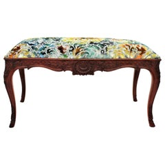 French 1920s Louis XV Style Carved Walnut Bench in Colorful Velvet Upholstery