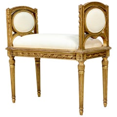 French 1920s Louis XVI Giltwood Bench