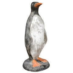 French 1920s Painted Concrete Garden Sculpture of a Life-Size Penguin