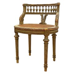 French 1920s Painted & Parcel Gilt Distressed Louis XVI Vanity Chair