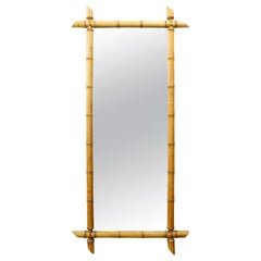 French 1920s Rectangular Faux Bamboo Walnut Mirror with Light Patina