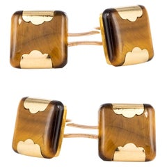 French 1920s Tiger's Eye 18 Karat Yellow Gold Cufflinks