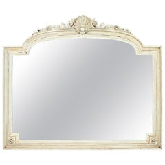 French 1920s White Patinated Arched Coquille Ornate Overmantle Wall Mirror