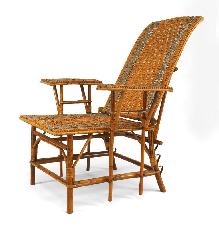 French 1920 S Wicker And Bamboo Chaise With Footrest At