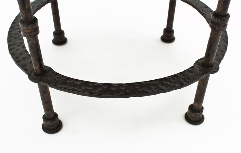 20th Century French 1920s Wrought Iron Low Drinks Table with Hammered Copper Round Top  For Sale