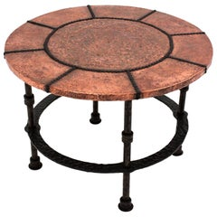 French Wrought Iron Round Table with Hammered Copper Top, 1920s