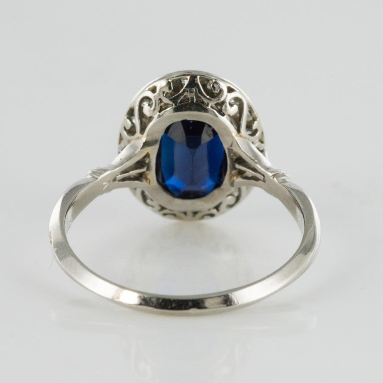 French 1925 Art Deco Sapphire Diamonds Platinum Oval Cluster Ring For Sale 6