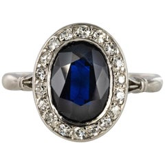 French 1925 Art Deco Sapphire Diamonds Platinum Oval Cluster Ring