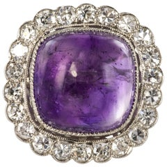 French 1925 Art Deco Sugarloaf Amethyst Diamonds Platinum Ring