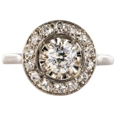 French 1925 Diamonds Platinum Art Deco Round Ring