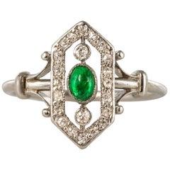 French 1925 Emerald Diamonds Platinum Ring