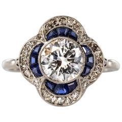 French 1925 Sapphire Diamonds Platinum Ring