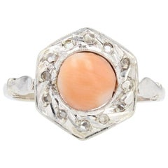 French 1925s Angel Skin Coral Diamonds 18 Karat White Gold Ring